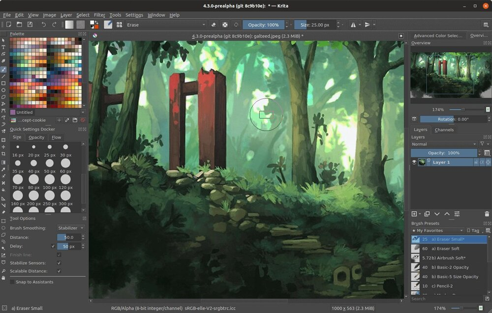 Krita is an excellent image editing and painting software